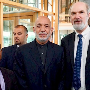 Thomas Schirrmacher and Ahmed Shaheed with the former President of Afghanistan Hamid Karzai © BQ/Warnecke